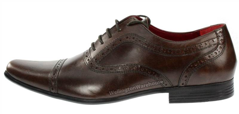 Red-Tape-Branston-Black-Brown-Tan-Mens-Leather-Lace-Brogue-Shoes