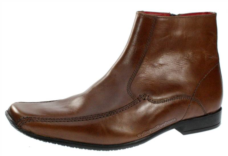 Red Tape Mens Tan Brown Leather Ankle Zip Up Boots Square Toe