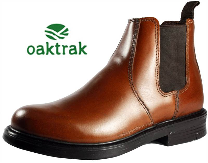 Walton Kids Oaktrak Black Pull On Chelsea Leather School Boots