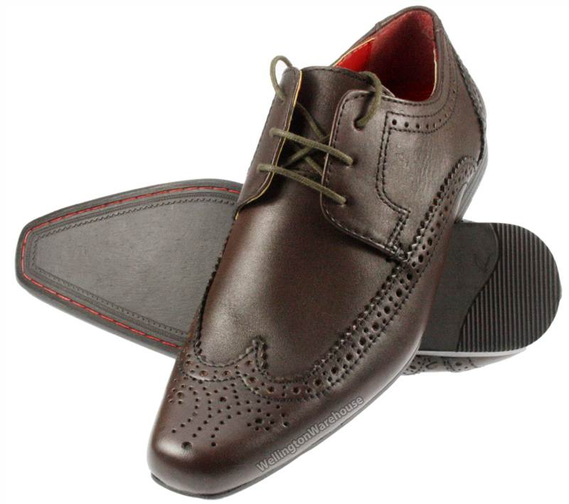 Red Tape Limden Boys Brown Leather brogue lace up formal shoes Size ... 442b9a8f4