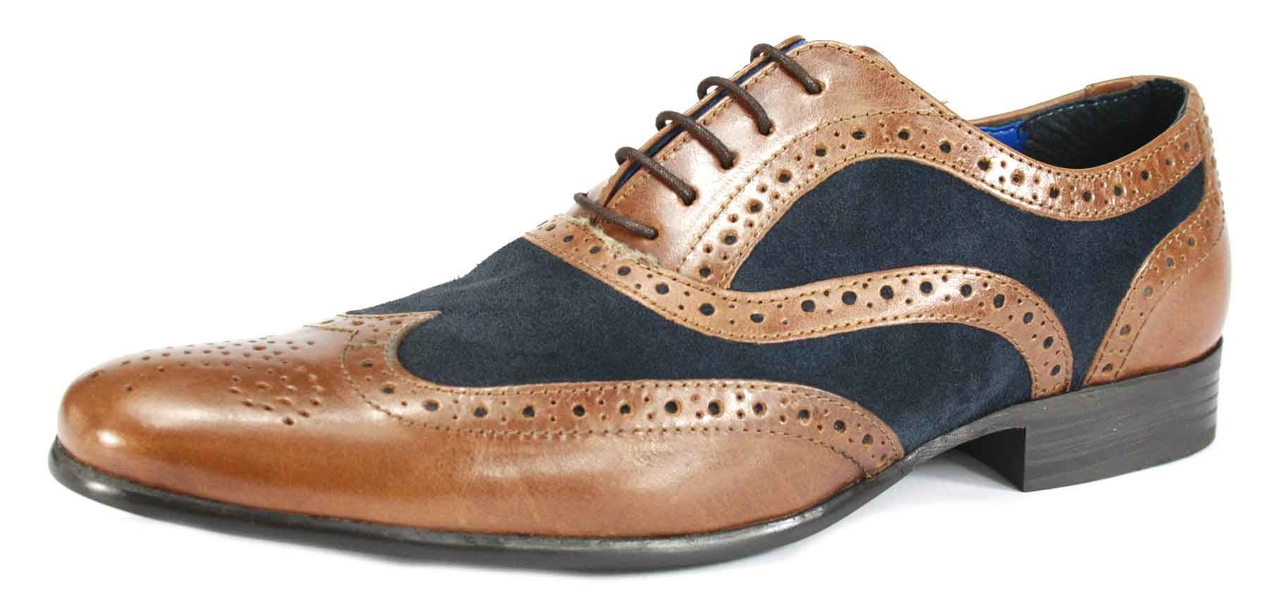 Gents Blue Brogue Shoes