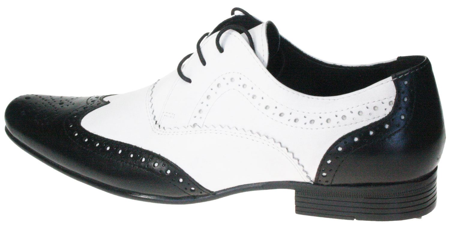 Black and White Genuine Leather Mens Dress Shoes Formal Lace Up ...