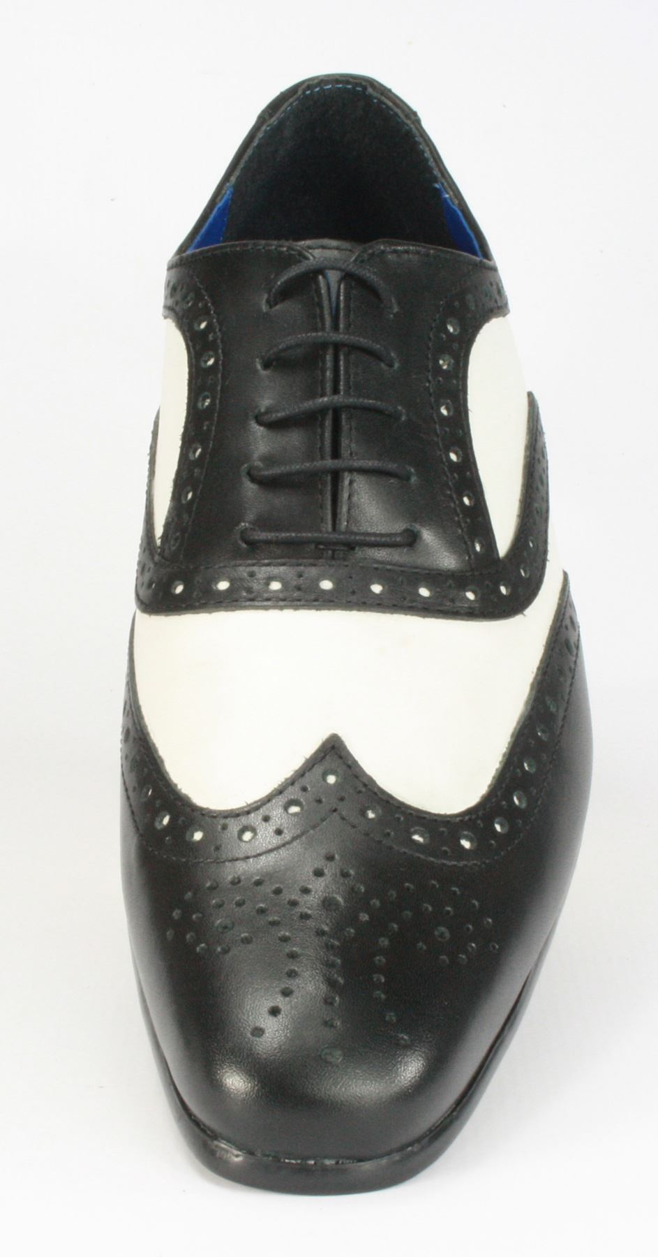 gatsby black white leather pointed toe brogue