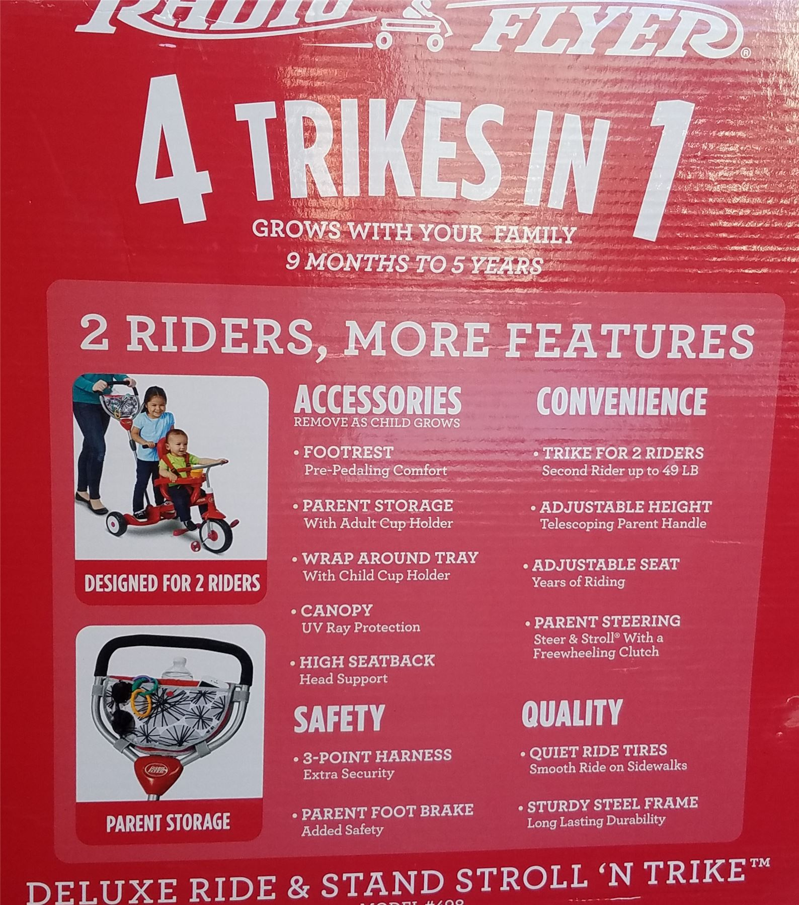Radio Flyer Deluxe Ride And Stand Stroll N Trike 2 Riders