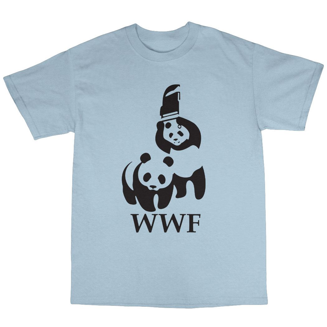 wwf wrestling panda parody t shirt cotton ebay. Black Bedroom Furniture Sets. Home Design Ideas