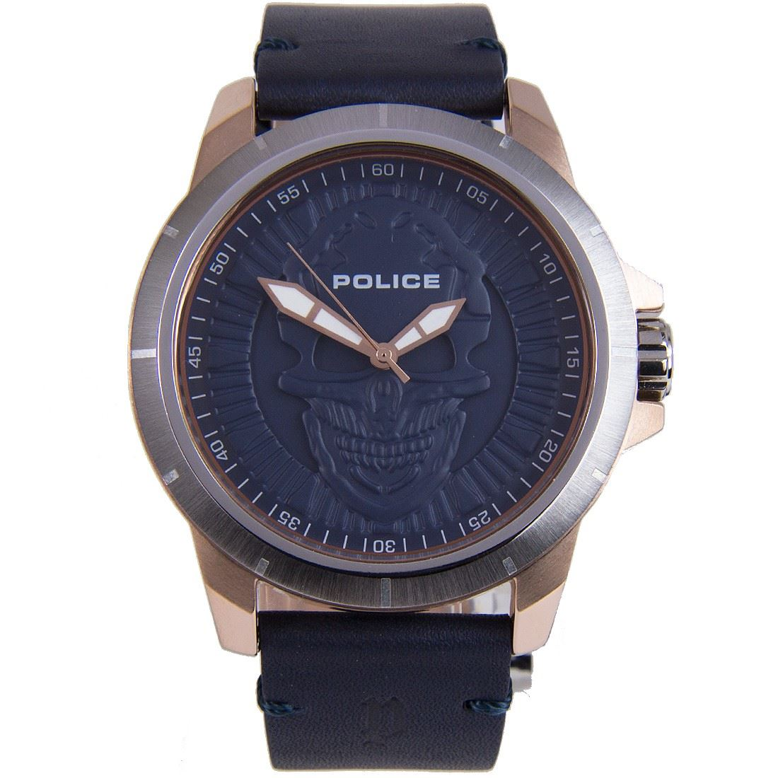 Police Scratch Resistant Leather Strap Gents Reaper Watch ...