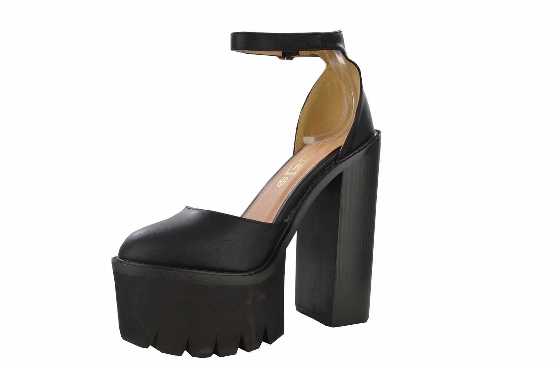 Womens Chunky High Heel Cleated Tractor Sole Ankle Strap Round Toe Sandals Shoes