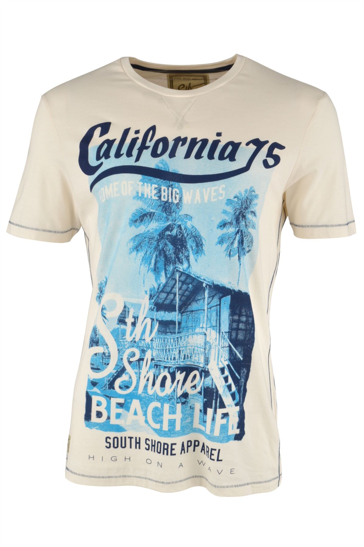 White South Shore California Graphic Mens Short Sleeve T-Shirt