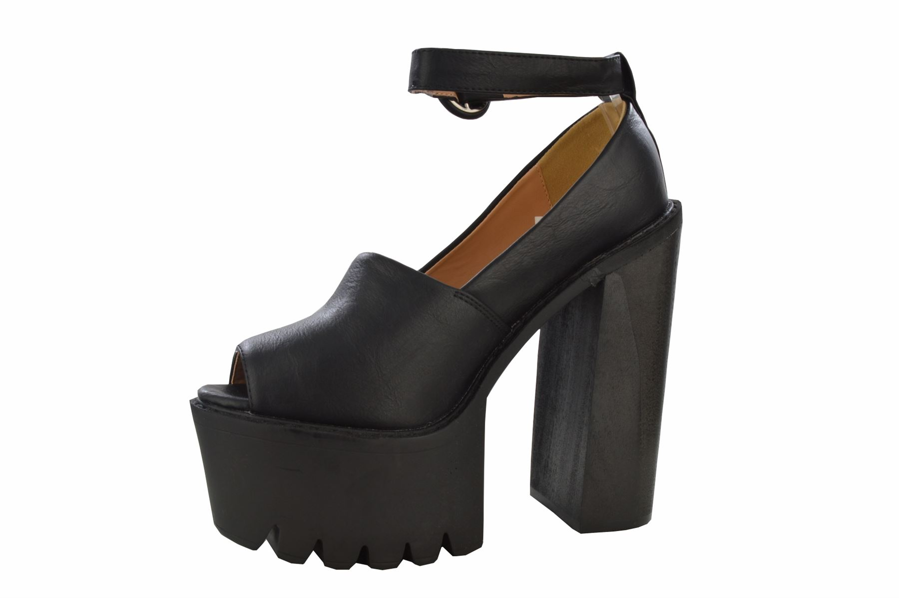 Womens Chunky High Heel Cleated Platform Tractor Sole Ankle Strap Peep Toe Shoes