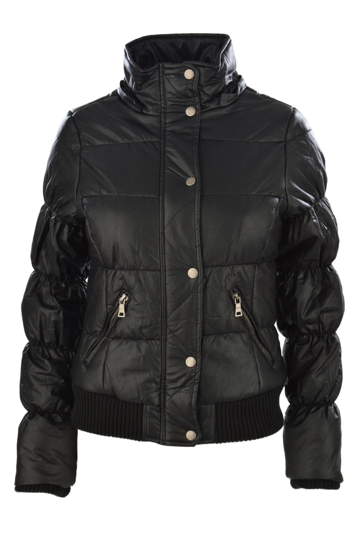 Womens Leather Bomber Jacket With Fur Hood Iucn Water