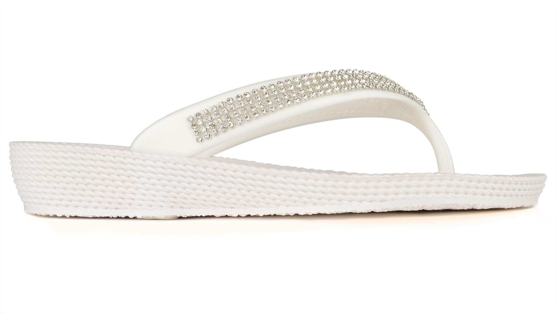 ella women 39 s diamante detail summer flat slight wedge flip. Black Bedroom Furniture Sets. Home Design Ideas