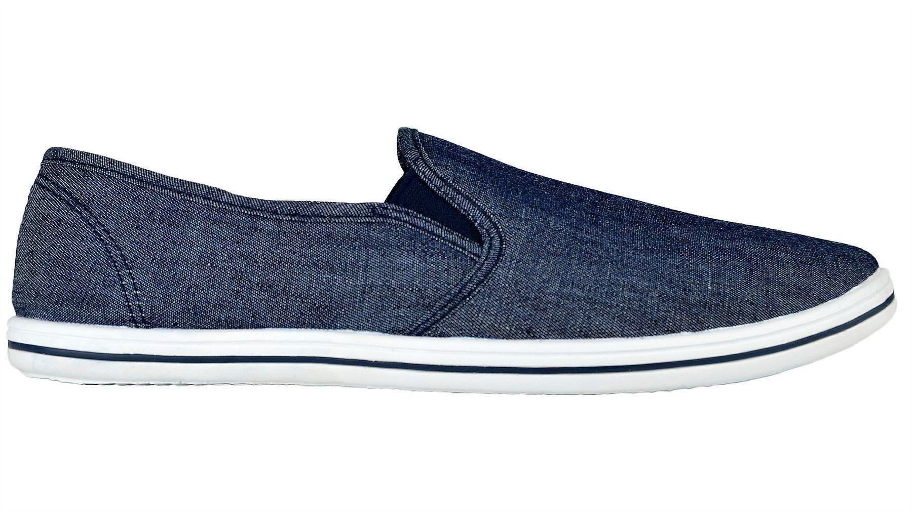 mens new casual plain canvas slip on plimsolls deck boat