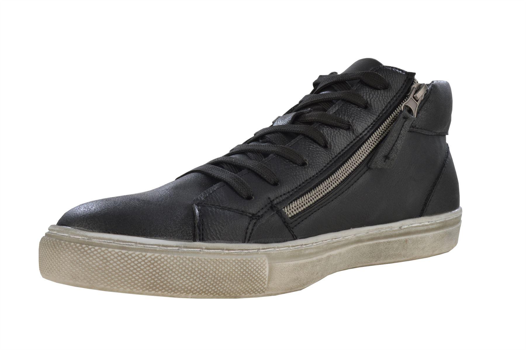 Men's Fashion Double Zip Detail Lace Up Distressed Hi Top Trainer Boot Shoe