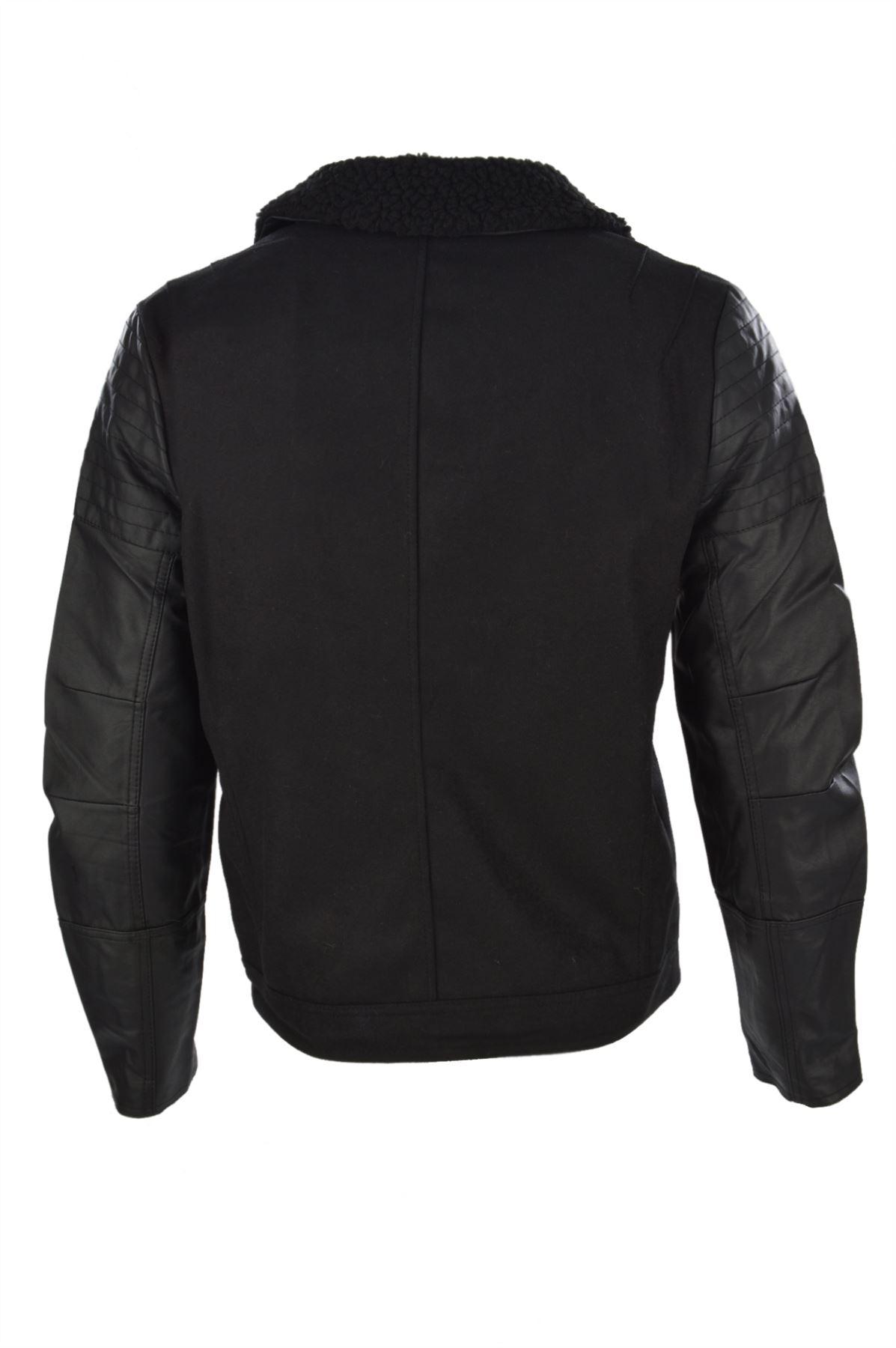 Mens Dissident Maguire Borg Trim PVC Sleeve Wool Mix Biker Jacket
