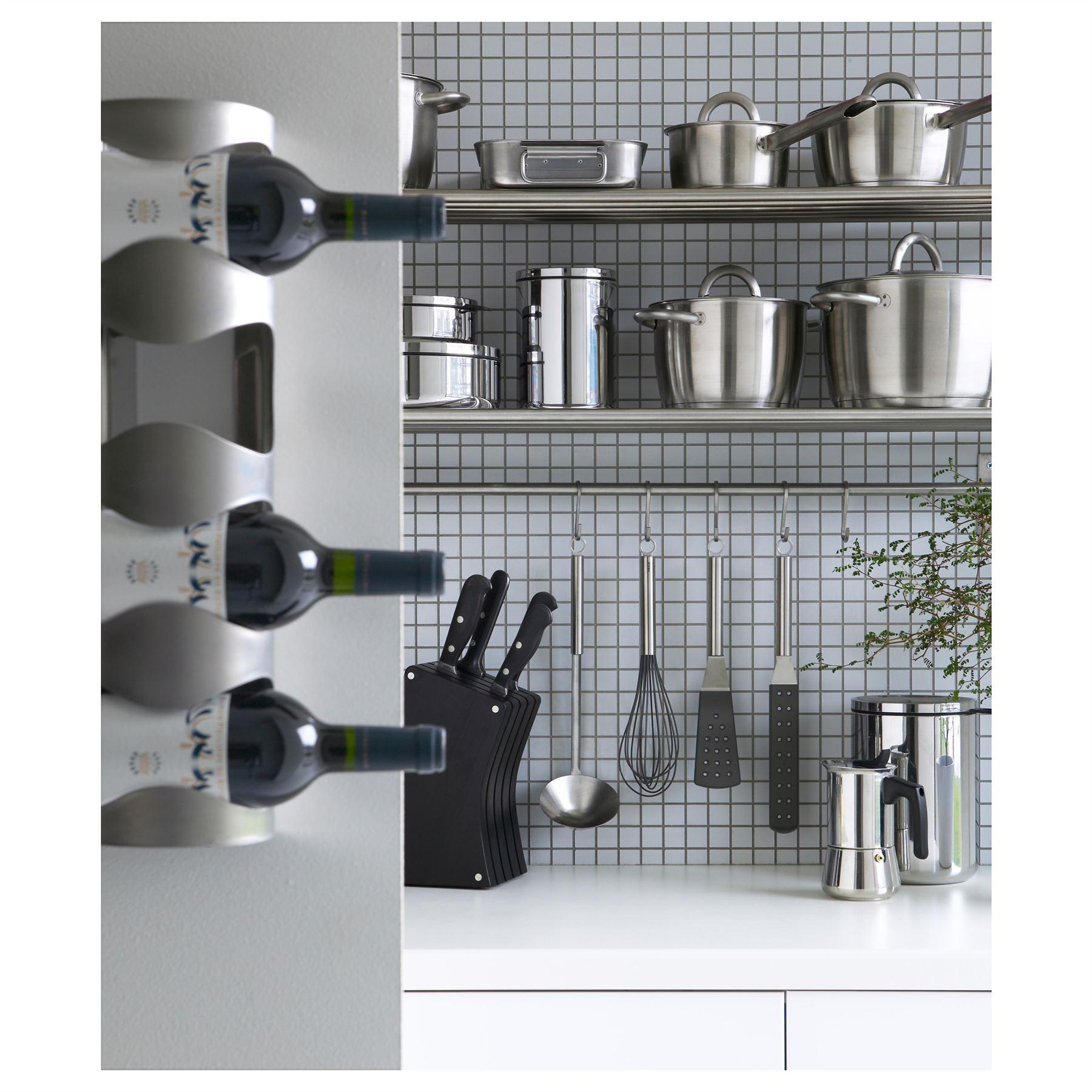 Ikea Vurm Stainless Steel 4 Bottle Wine Rack Wall Mount