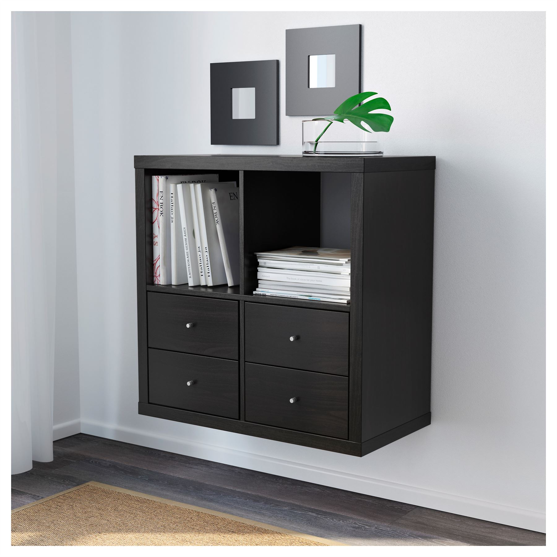 ikea kallax 4 cube storage bookcase square shelving unit. Black Bedroom Furniture Sets. Home Design Ideas