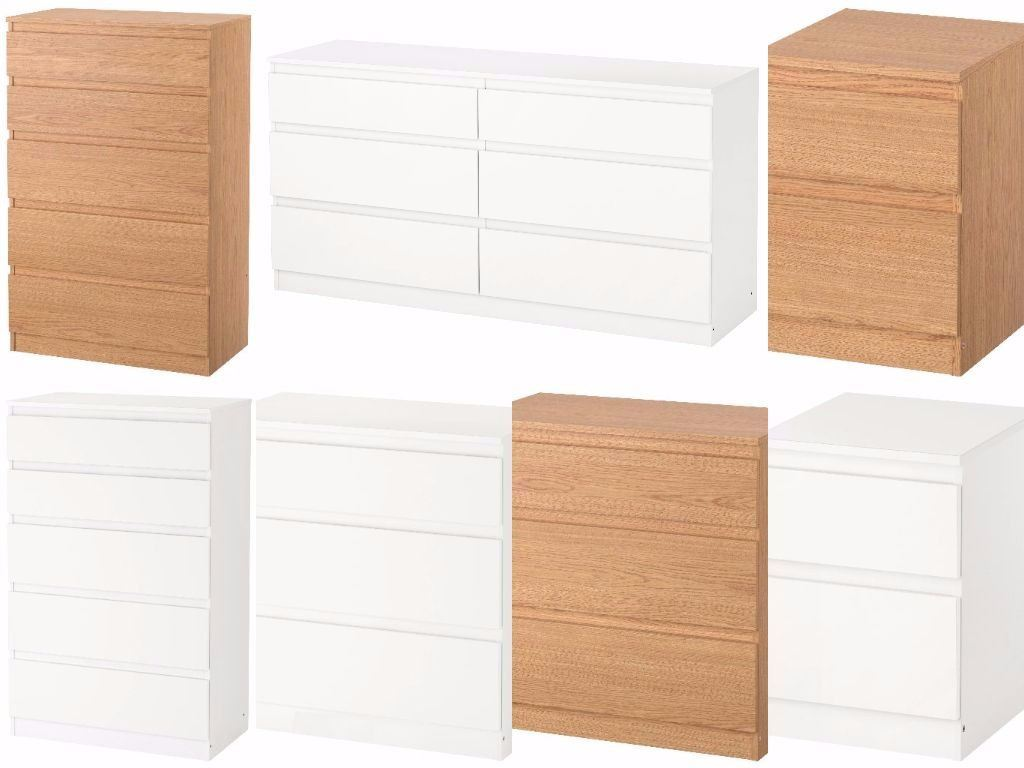 Ikea Kullen Chest Of Drawers White Oak Effect Bedroom Furniture NEW EBay
