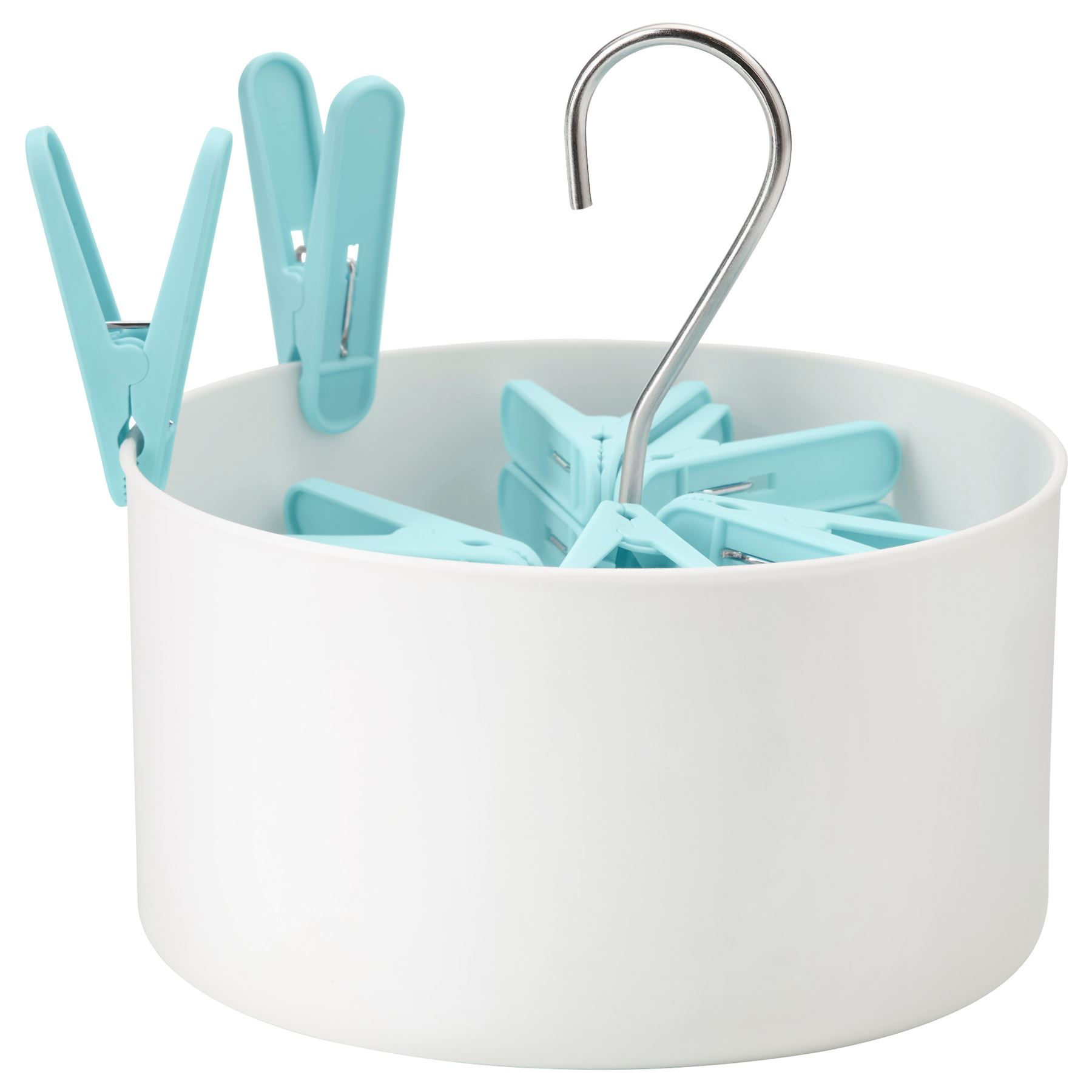 Ikea torkis white hanging peg basket with 30 blue clothes - Panier de basket mural ...