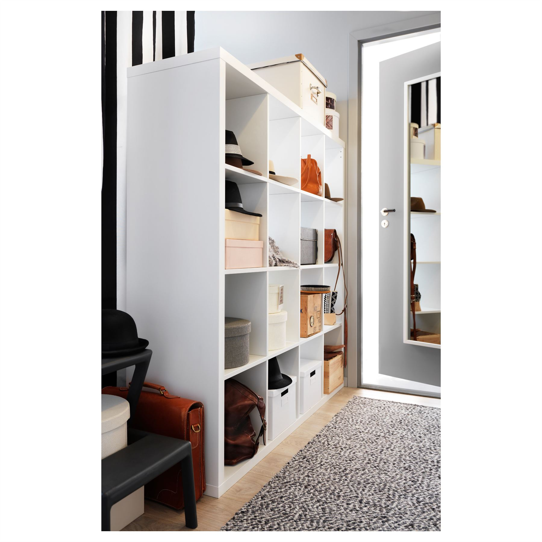 ikea kallax 16 cube storage bookcase square shelving unit white ebay. Black Bedroom Furniture Sets. Home Design Ideas