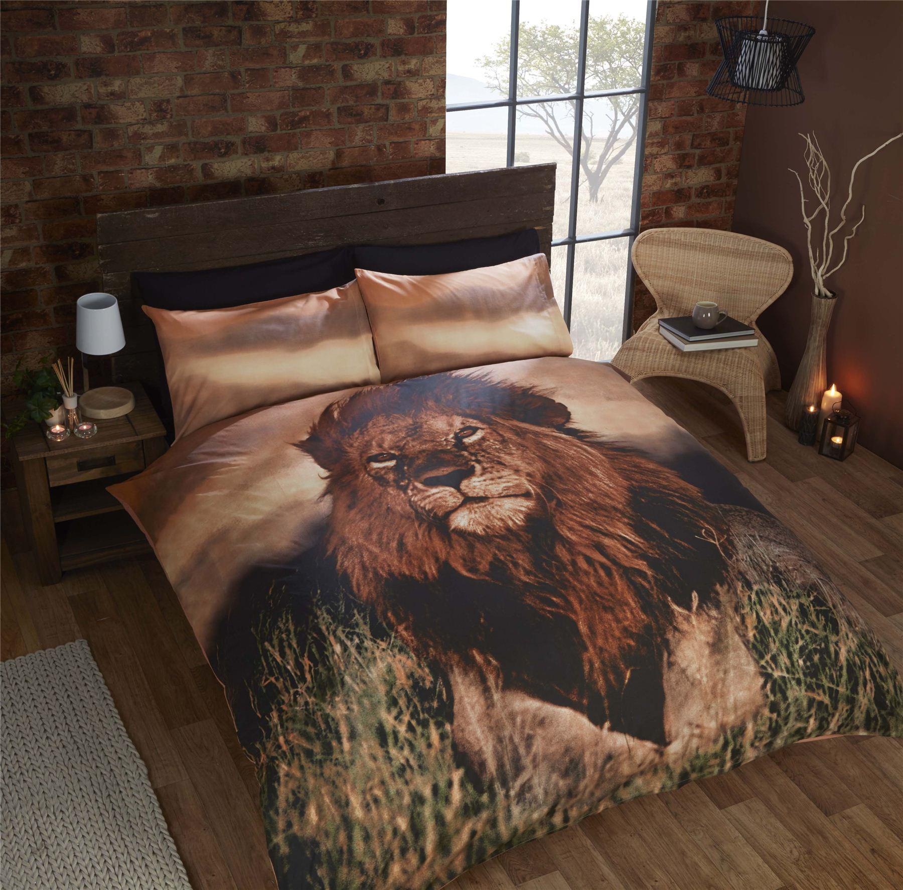 Aslan lion bedding duvet cover photo print wild animal for Wild bedding