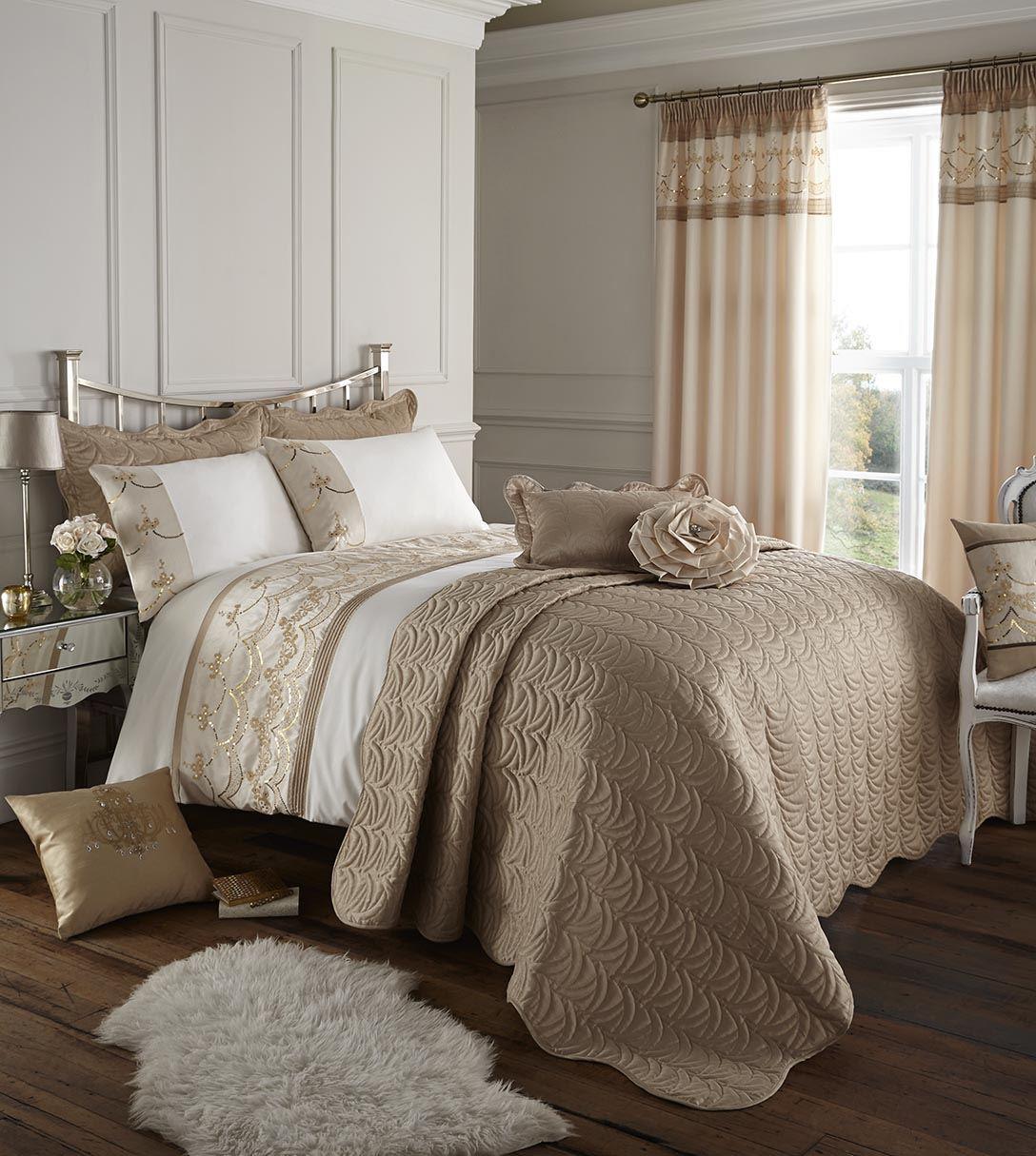 catherine lansfield charlston gold luxury sequin glittering bedding duvet cover