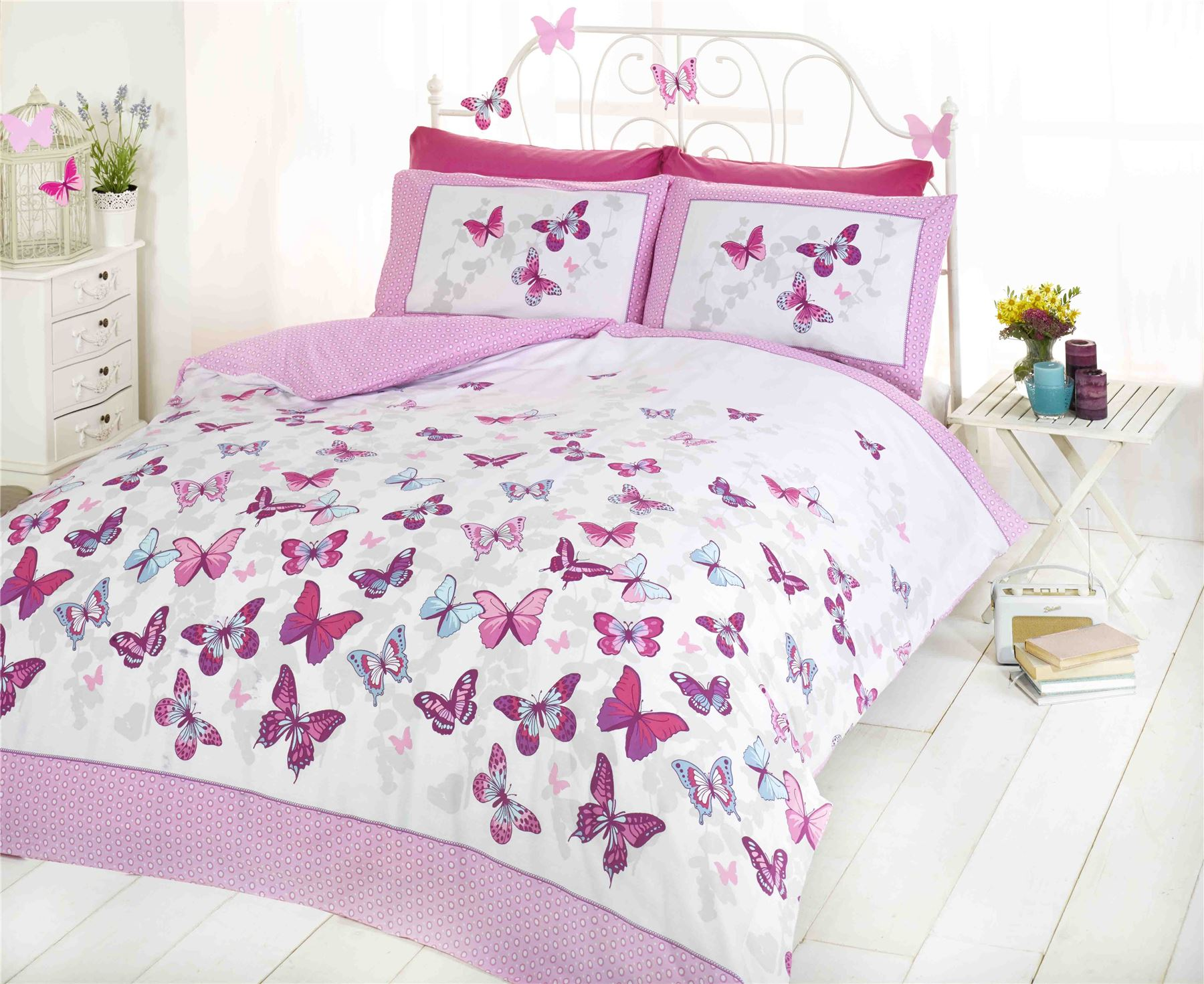 Flutter butterfly butterflies pink girls childrens bedding for Drap housse 200x200 ikea