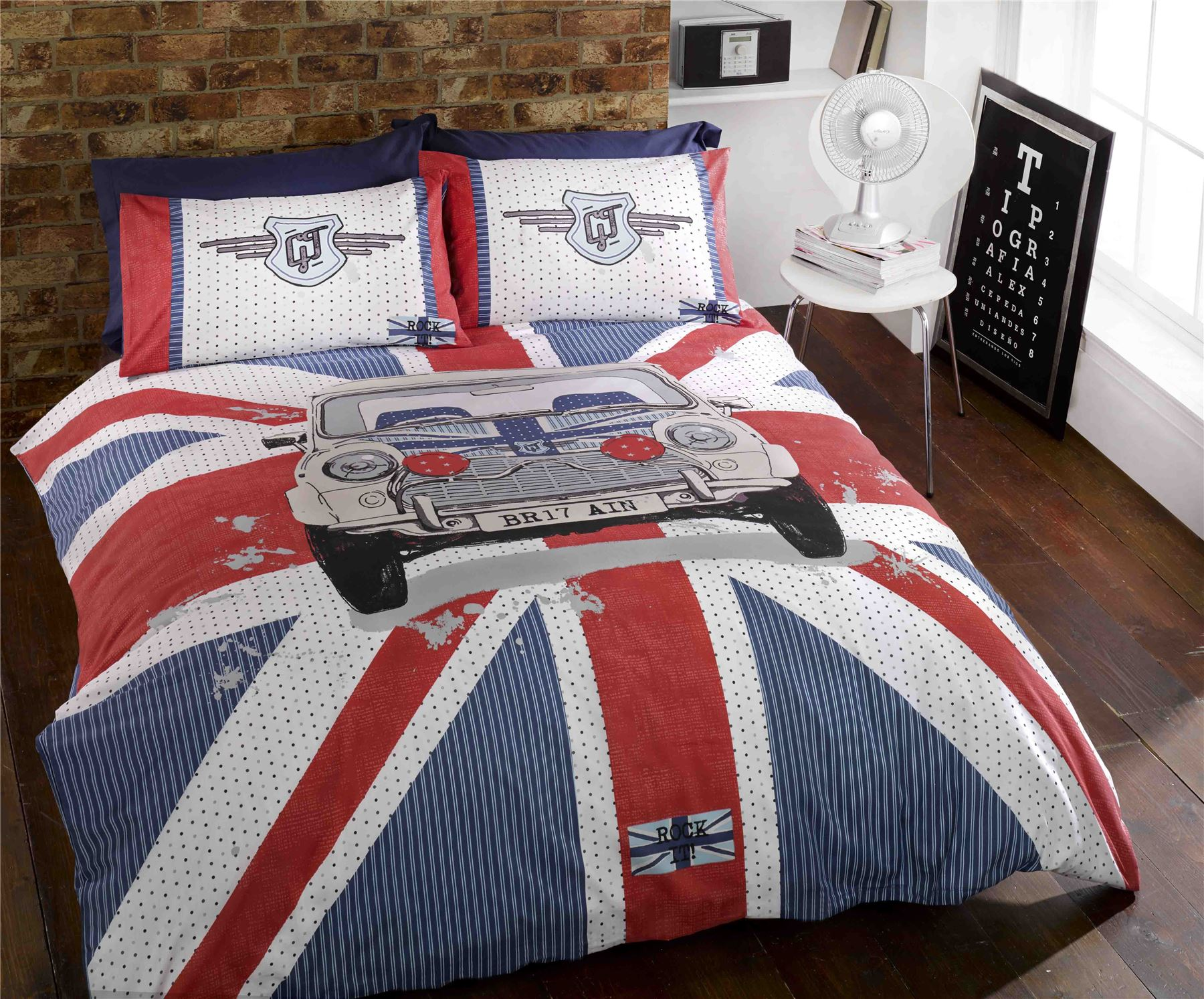 mini gt funky union jack flag duvet cover set mini cooper car duvet cover ebay. Black Bedroom Furniture Sets. Home Design Ideas