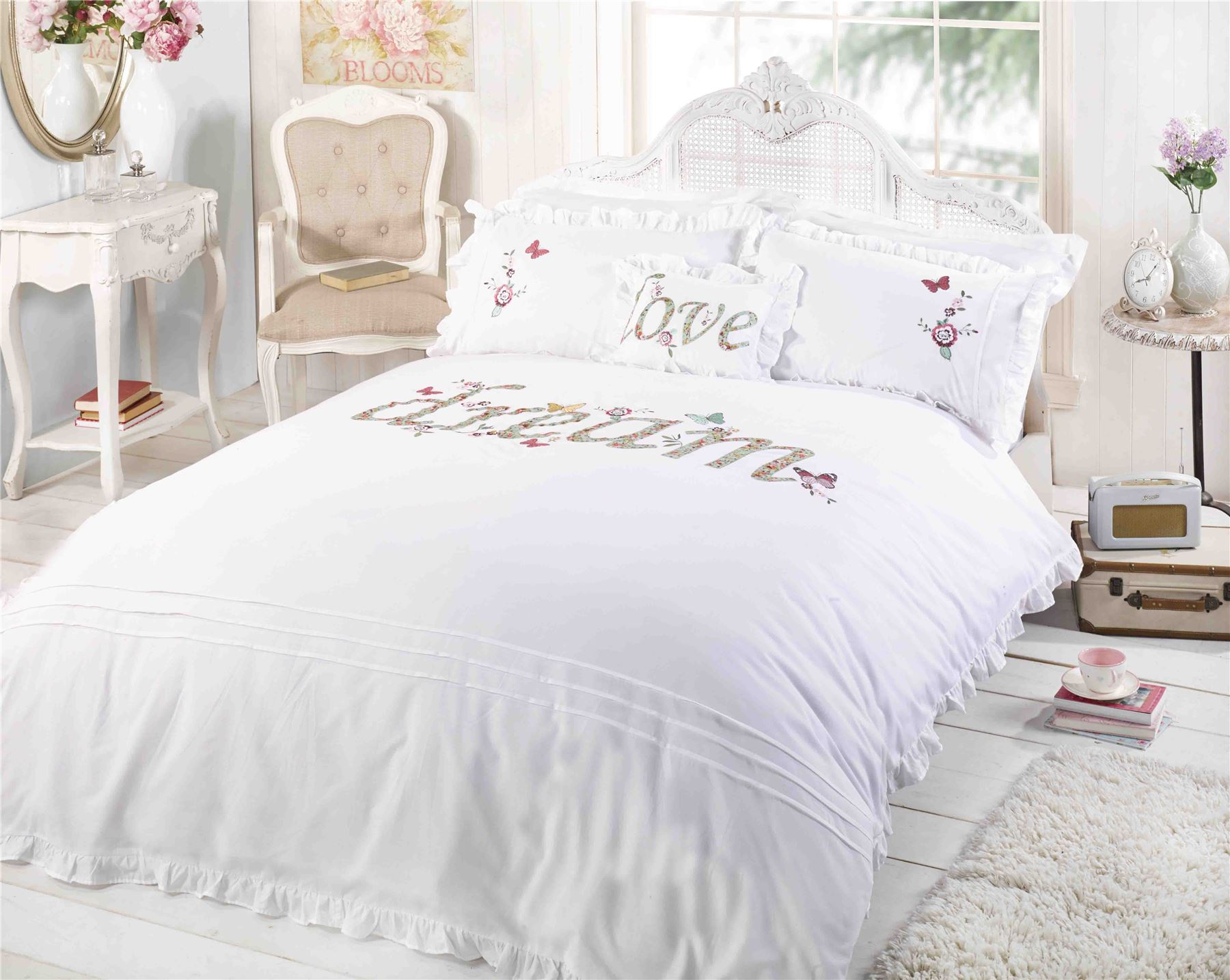 rapport luxury dream white pink green embroidered duvet cover bedding bed ebay. Black Bedroom Furniture Sets. Home Design Ideas
