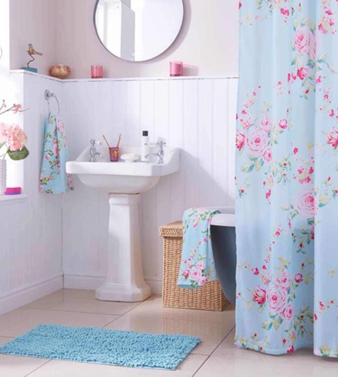 Canterbury bath range towels mat shower curtain floral for Floral bath accessories