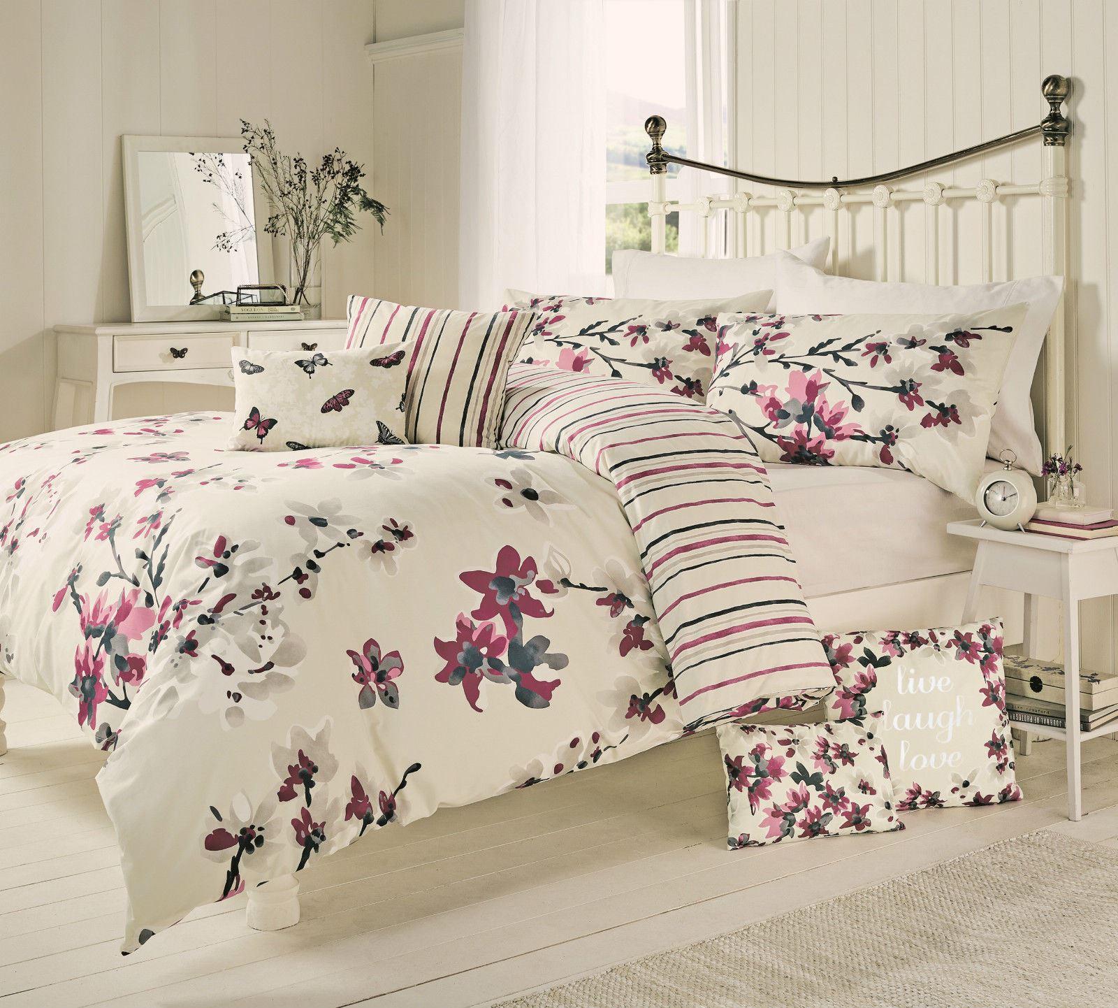 Sakura Floral Blossom Bedding Duvet Cover Mauve Cranberry