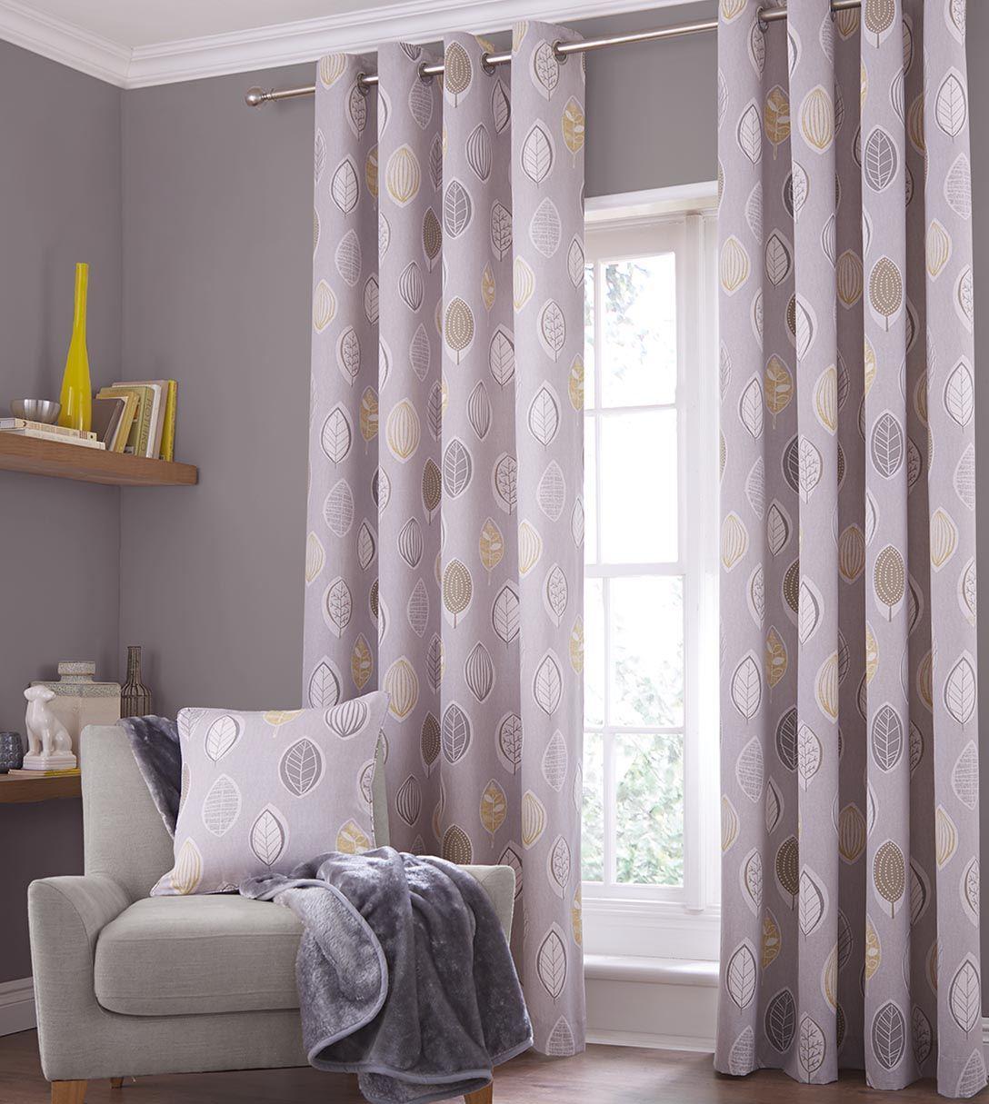 Skandi Leaves Readymade Lined Ring Top Eyelet Modern Curtains Natural Grey