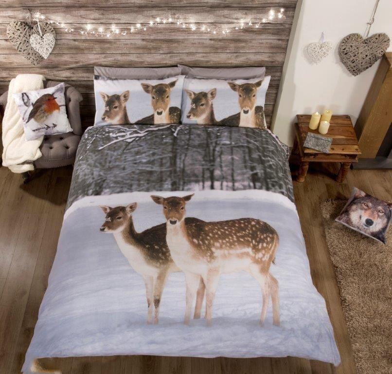 rapport rentier hirsch tier fotodruck bettw sche einzel. Black Bedroom Furniture Sets. Home Design Ideas