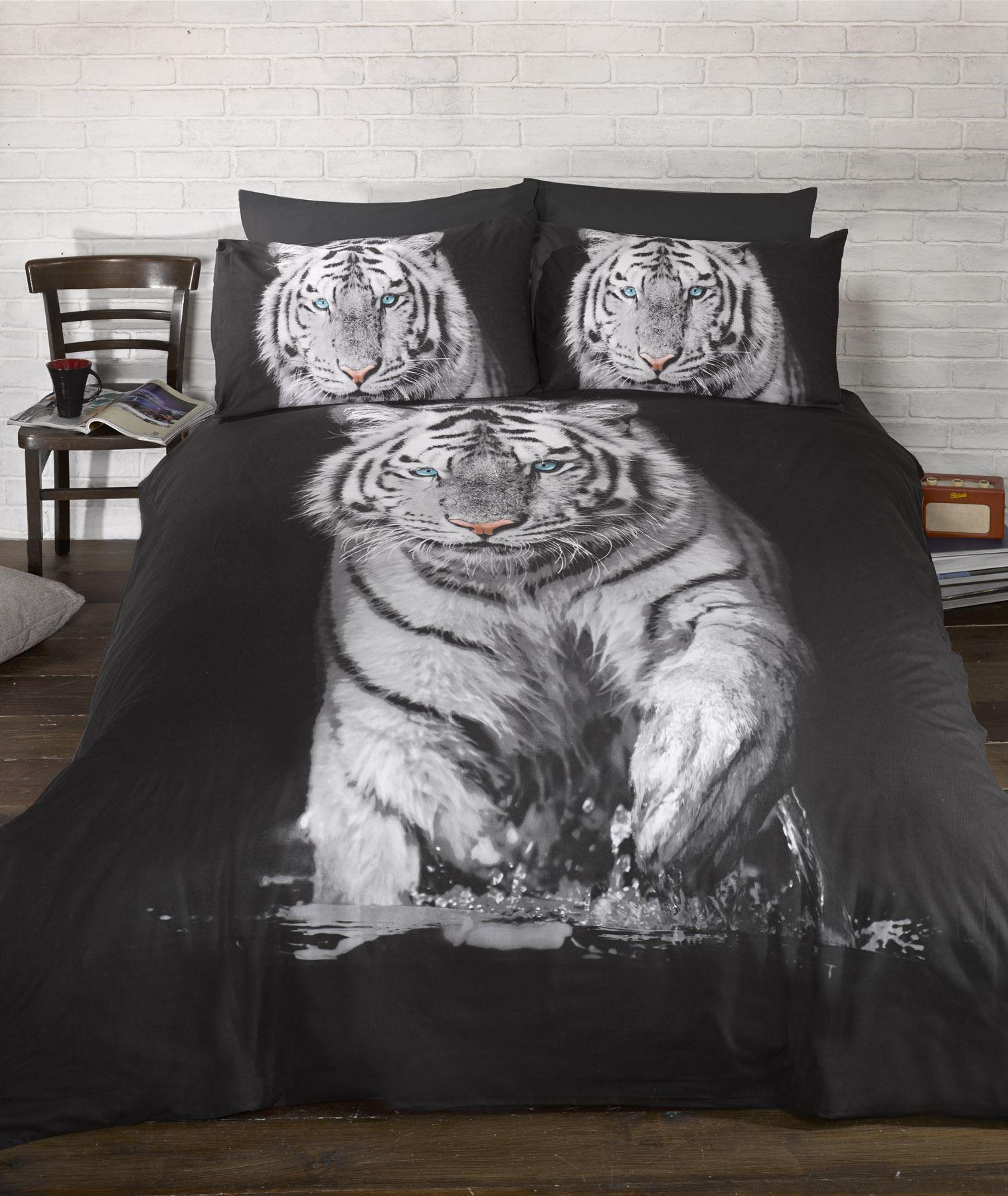 Vintage-Art-tigre-animali-biancheria-letto-copripiumino