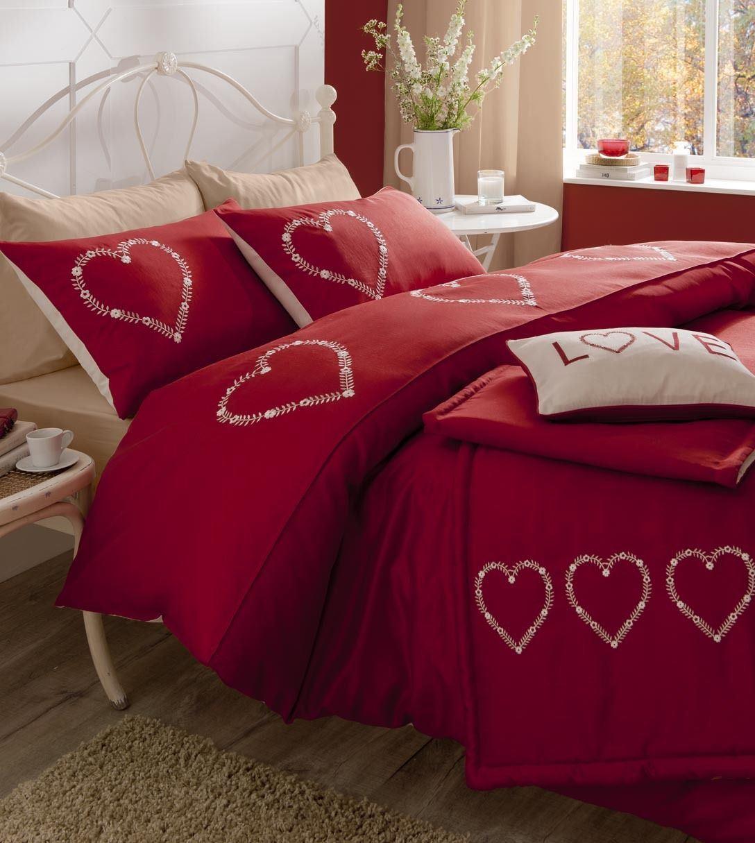 neuf literie couette housse de couette c ur amour rouge. Black Bedroom Furniture Sets. Home Design Ideas