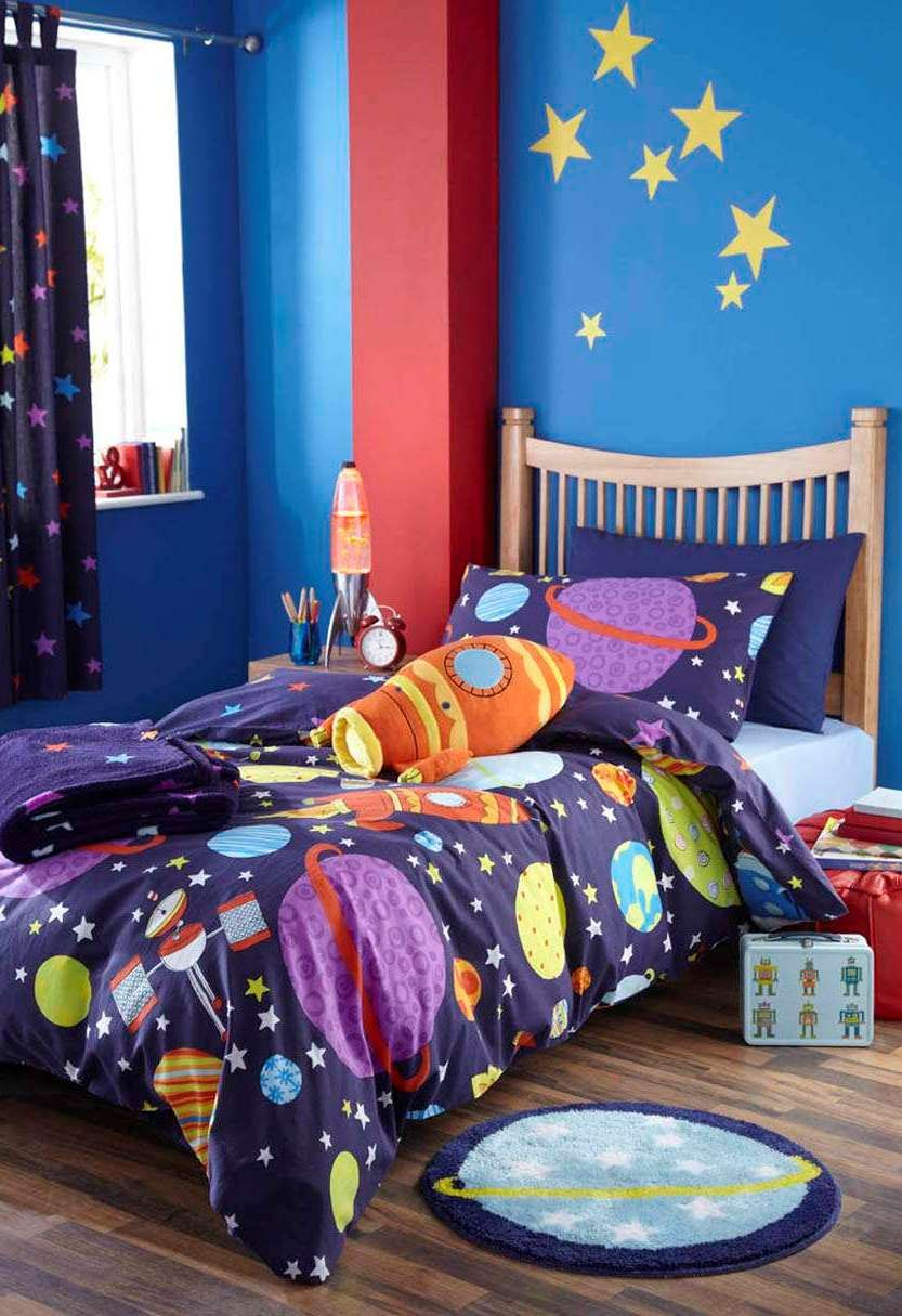 Boys single bedding duvet cover cool bright teenager for Outer space bedding