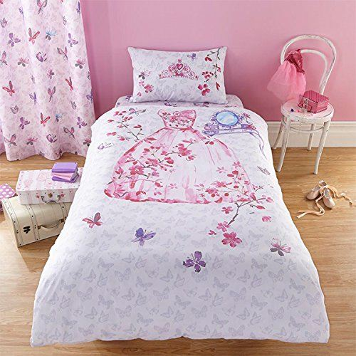 Glamour Princess Pink Girls Childrens Fairytale Bedding Duvet Cover Quiltset