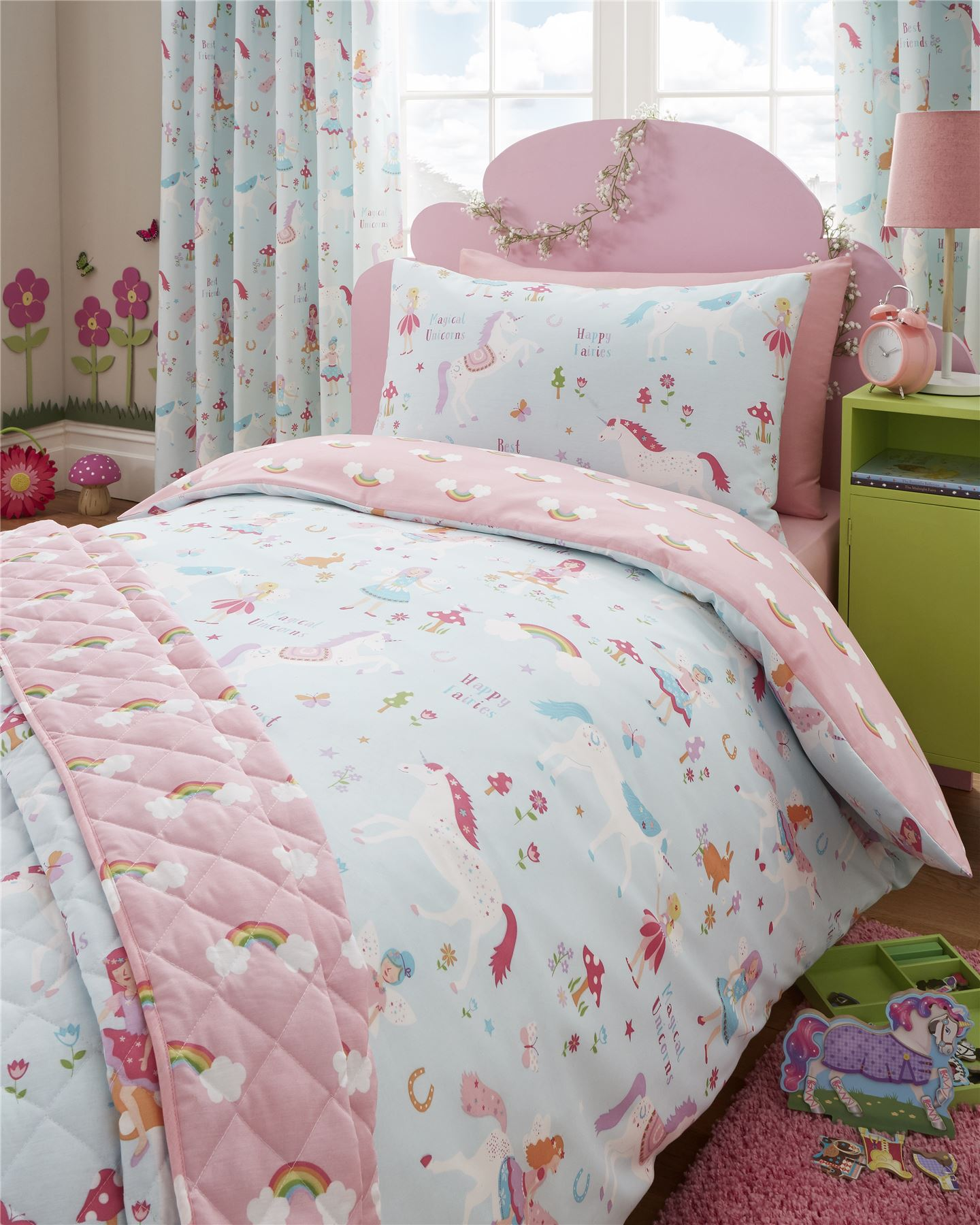 Magical Unicorn Duvet Cover Girls Kids Bedroom Reversible
