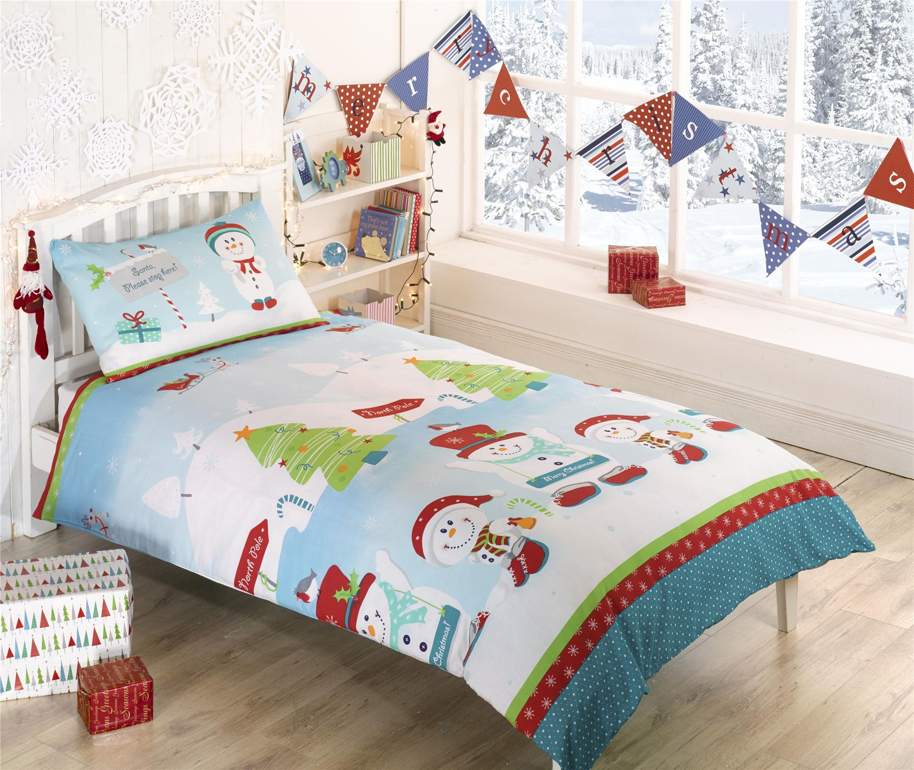 Kids Christmas Bedding Toddler Single Double Bright Colourful Festive Xmas