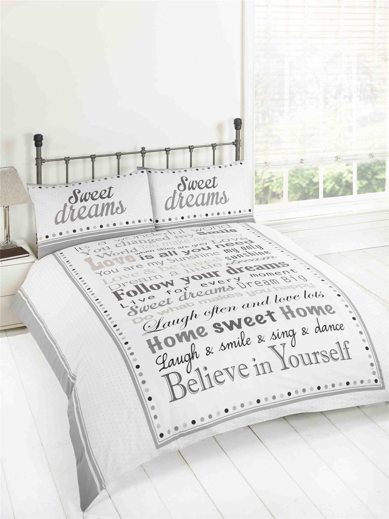Sweet Dreams Love Is All You Need Aufschrift schwarz grau Foto Druck Bettbezug