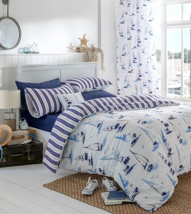 Catherine Lansfield Padstow Yacht Nautical White Blue Sea Duvet Cover Bedding