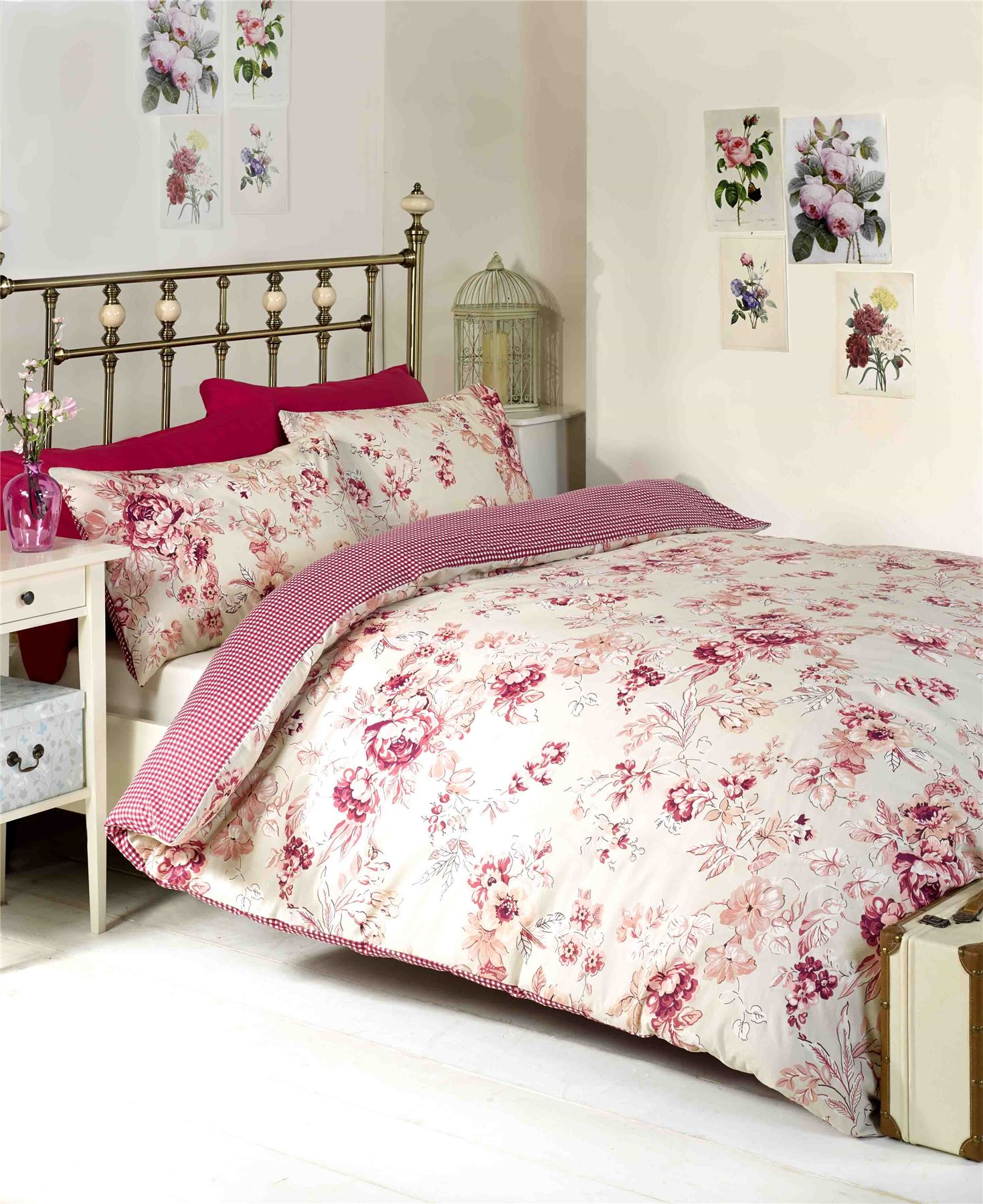 rosa chelsea shabby chic floral blumen wende bettbezug. Black Bedroom Furniture Sets. Home Design Ideas