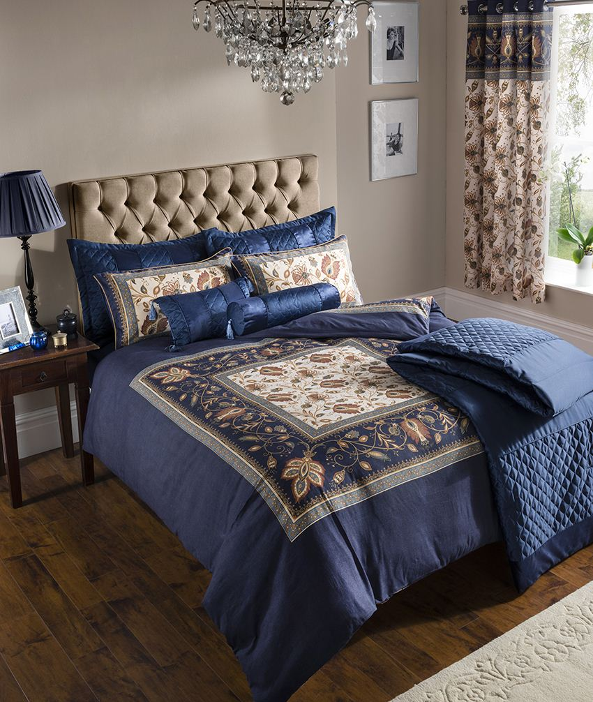 Catherine Lansfield Rochester Navy Blue Gold Floral Duvet Cover & Accessories