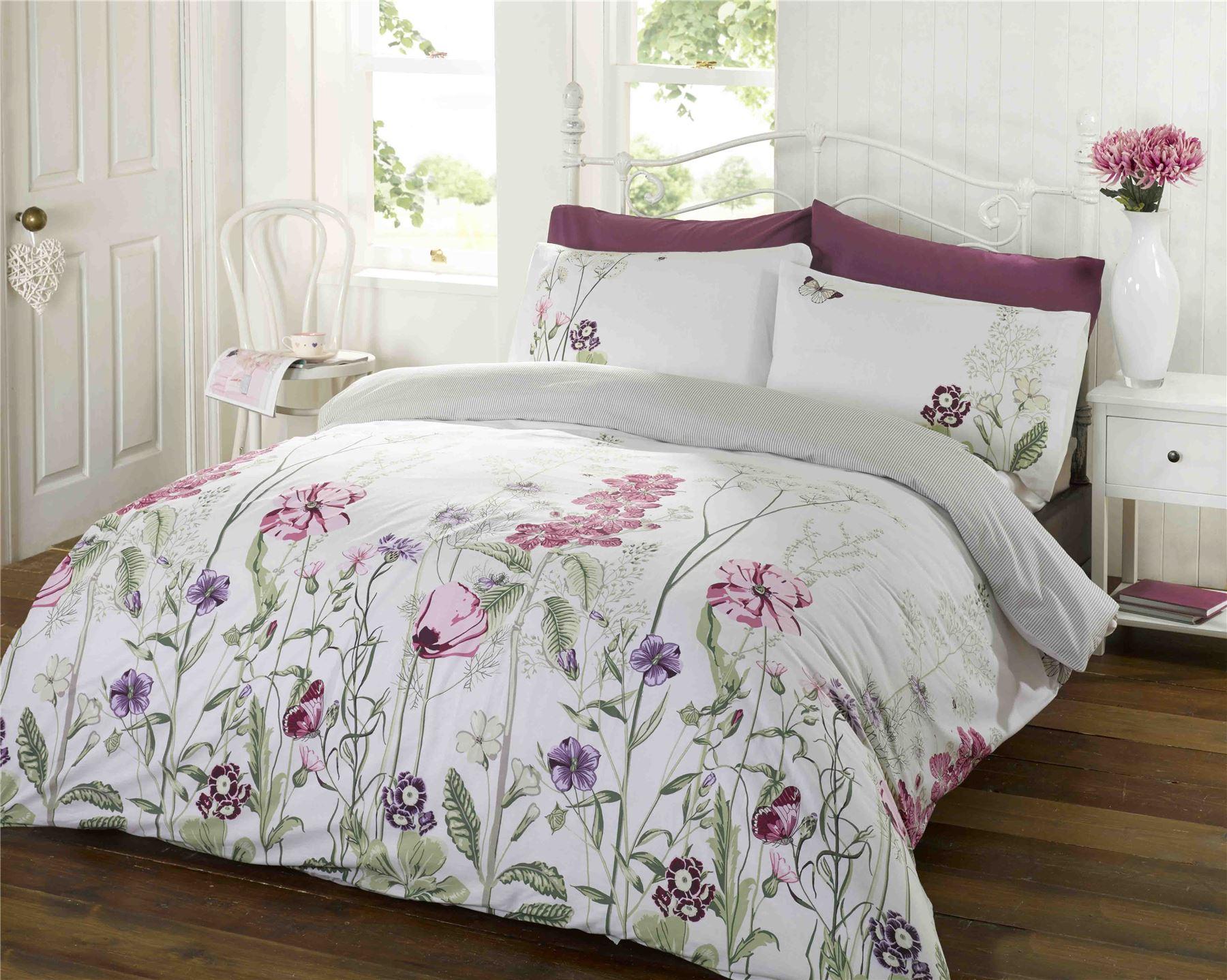 Memoirs rosa natur hell floral bl tter bettw sche garnitur - Ropa de cama para hosteleria ...