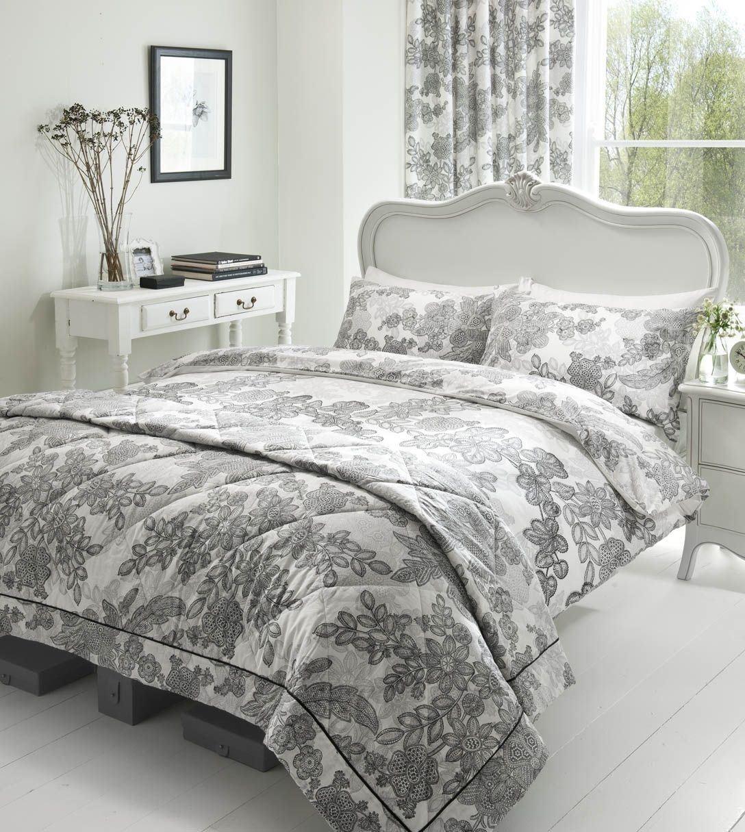 bedruckte spitze 100 reiner baumwolle schwarz weiss blumen. Black Bedroom Furniture Sets. Home Design Ideas
