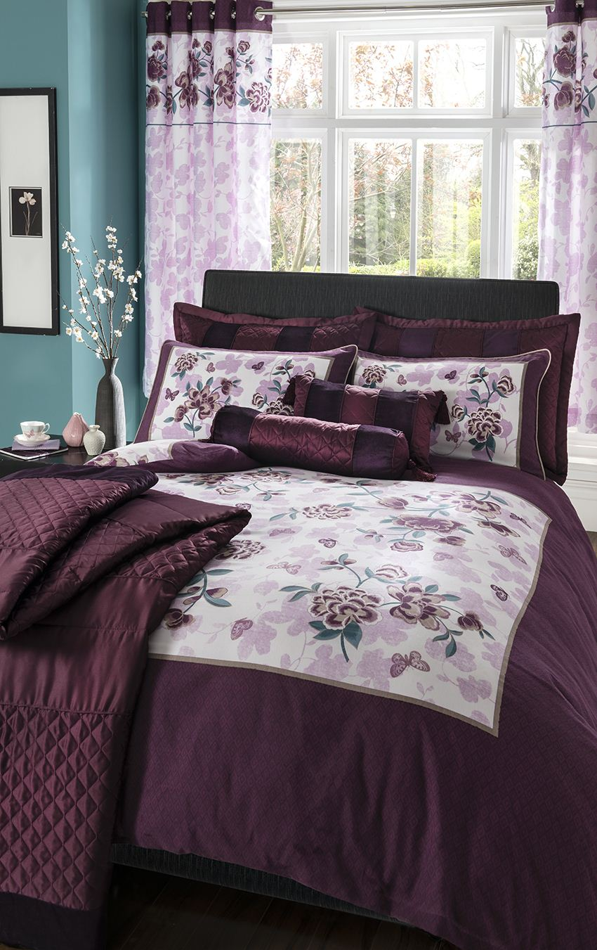housse de couette fleurie violet corrine plum accessoires catherine lansfield ebay. Black Bedroom Furniture Sets. Home Design Ideas