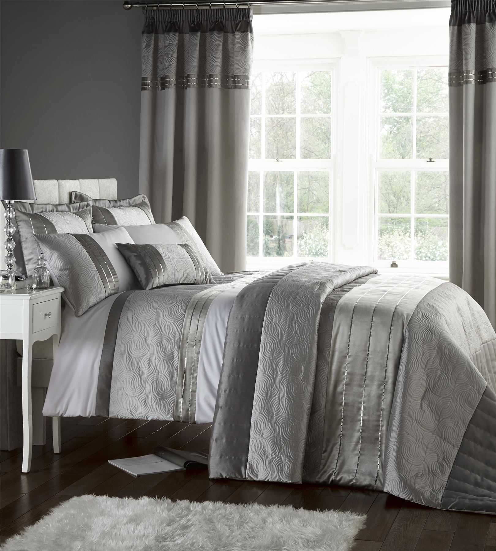 Catherine Lansfield Gatsby Silver Embroidered Sequin Luxury Bedding Duvet Cover