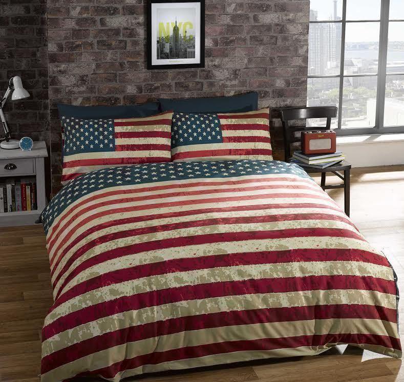 Rapport NYC New York Skyline Bedding American Flag Reversible Duvet Cover
