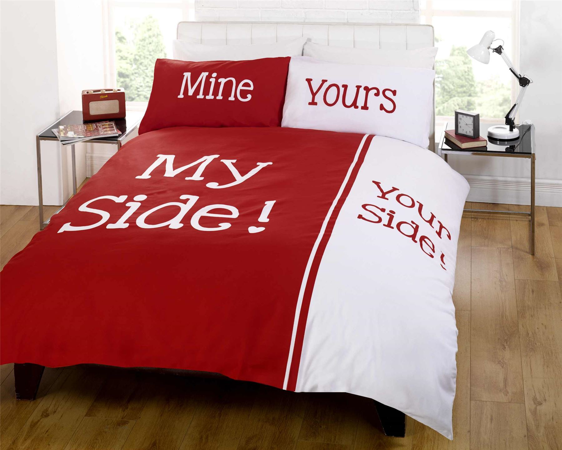 Rapport Panel Print Red My Side Your Side Couple Bedding Double King