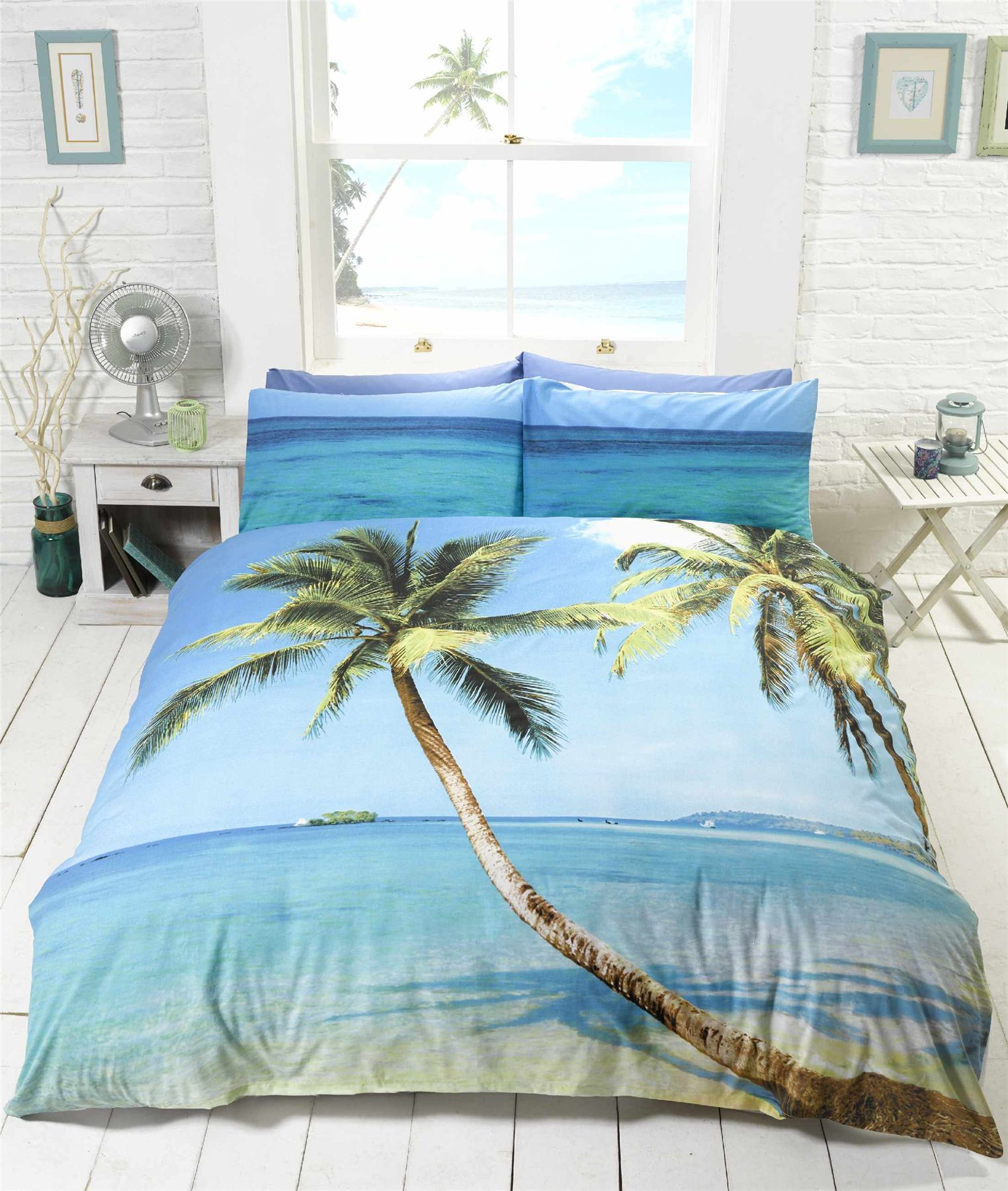 beach scene tropical island palm tree bedding duvet cover