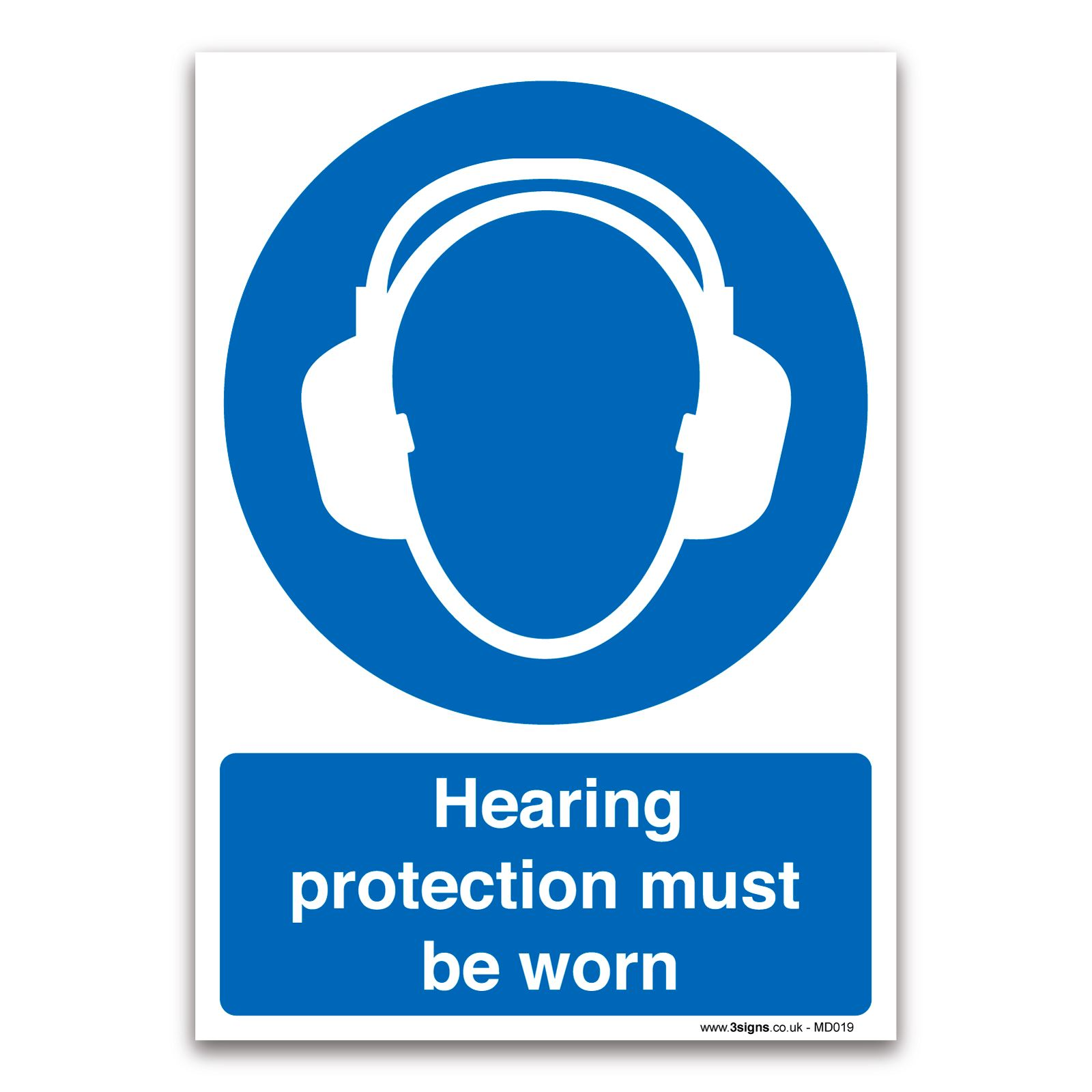 Hearing Protection Must Be Worn 1mm Rigid Plastic Mandatory Safety